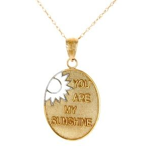14k Gold You Are My Sunshine Necklace Charm